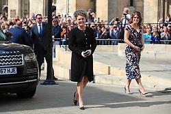 Sarah, Duchess of York, with her daughter Princess Eugenie arriving at York Minster for the wedding of singer Ellie Goulding to Caspar Jopling.