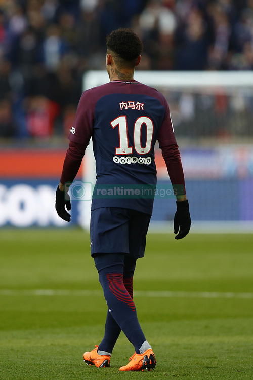 February 17, 2018 - Paris, France - Neymar Jr of Paris Saint-Germain's name is written in Chinese on his shirt as a tribute to the Chinese New Year, during the Ligue 1 match between Paris saint-Germain and Strasbourg at Parc des Princes on February 17, 2018 in Paris, France. (Credit Image: © Mehdi Taamallah/NurPhoto via ZUMA Press)