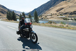Mike Bell riding his 1923 Harley-Davidson J during Stage 14 - (284 miles) of the Motorcycle Cannonball Cross-Country Endurance Run, which on this day ran from Meridian to Lewiston, Idaho, USA. Friday, September 19, 2014.  Photography ©2014 Michael Lichter.