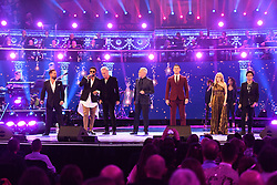 (left to right) Alfie Boe, Shaggy, Sting, Sir Tom Jones, Kylie Minogue and Jamie Callum perform at the Royal Albert Hall in London for a star-studded concert to celebrate the Queen's 92nd birthday.