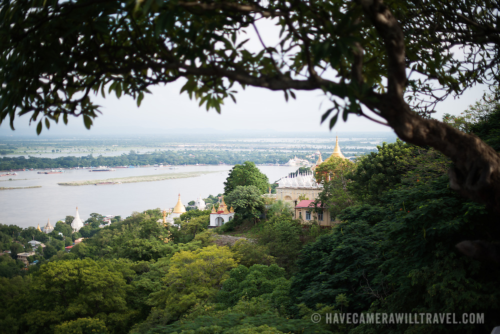 The view from Soon Oo Pon Nya Shin Pagoda. Sitting on top of Nga-pha Hill, Soon Oo Pon Nya Shin Pagoda is one of multiple pagodas and temples in the religious district of Sagaing, near Mandalay. The original pagoda dates to 674.