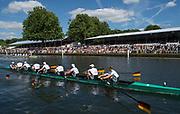 "Henley-on-Thames. United Kingdom.  2017 Henley Royal Regatta, Henley Reach, River Thames. <br /> Grand Challenge Cup. GER M8+. Passauer Ruderverein von 1874 and Ruderverein ""Treviris"" Trier von 1921 Germany. <br /> <br /> Bow J. WEISSENFELD, F. WIMBERGER, M. PLANER, T. JOHANNSEN, J. SCHNEIDER,M.JAKSCHIK, R SCHMIDT, H.OCIK and Martin SAUER.<br /> <br /> <br /> 15:36:01  Sunday  02/07/2017   <br /> <br /> [Mandatory Credit. Peter SPURRIER/Intersport Images."