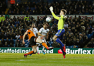 Save by Leeds United goalkeeper Bailey Peacock-Farrell   from Wolverhampton Wanderers midfielder Diogo Jota during the EFL Sky Bet Championship match between Leeds United and Wolverhampton Wanderers at Elland Road, Leeds, England on 7 March 2018. Picture by Paul Thompson.