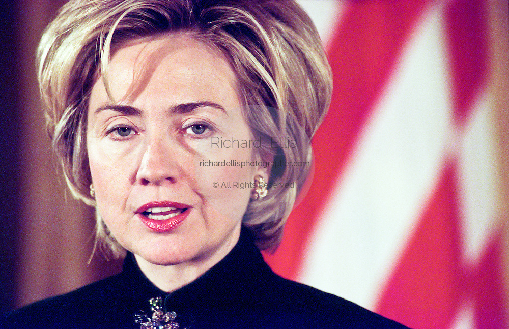 First lady Hillary Clinton speaks a child care event at the White House February 23, 1999 in Washington, DC.
