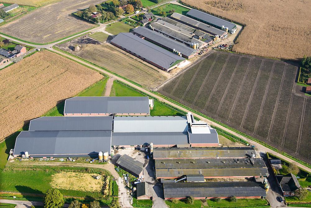 Nederland, Noord-Brabant, Gemeente Nederweert, 24-10-2013; complex van varkensboerderijen ten noorden van Nederweert.<br /> Complex of pig farms north of Nederweert.<br /> luchtfoto (toeslag op standaard tarieven);<br /> aerial photo (additional fee required);<br /> copyright foto/photo Siebe Swart.