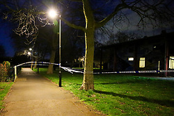 © Licensed to London News Pictures. 11/03/2020. London, UK. The crime scene around Chestnuts Park Community Centre in Chestnuts Park, Haringey, north London after a man was shot around 5pm. Emergency services were called to the centre which is near a children's playground. A man was found at the scene with gunshot wounds and has been taken to a hospital. Photo credit: Dinendra Haria/LNP