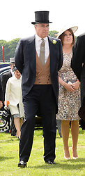 HRH The DUKE OF YORK and HRH PRINCESS EUGENIE at the Investec Derby 2013 held at Epsom Racecourse, Epsom, Surrey on 1st June 2013.
