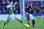 10 Dylan McGeouch and 77 Isma Goncalves battle for the ball during the William Hill Scottish Cup 4th round match between Heart of Midlothian and Hibernian at Tynecastle Stadium, Gorgie, Scotland on 21 January 2018. Photo by Kevin Murray.