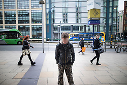 © Licensed to London News Pictures . 06/04/2017 . Manchester , UK . A man standing in a catatonic-like state on Station Approach in Piccadilly . An epidemic of abuse of the drug spice by some of Manchester's homeless population , in plain sight , is causing users to experience psychosis and a zombie-like state and is daily being witnessed in the Piccadilly Gardens area of Manchester , drawing large resource from paramedic services in the city centre . Photo credit : Joel Goodman/LNP