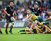Australia's Harry Nucifora throws a pass during the World Rugby U20 Championship 5rd Place play-off  match Australia U20 -V- New Zealand U20 at The AJ Bell Stadium, Salford, Greater Manchester, England on Saturday, June  25  2016.(Steve Flynn/Image of Sport)