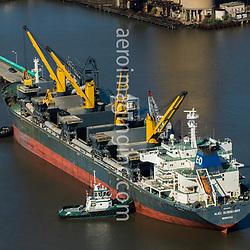 Aerial view of ALICE OLDENDORFF, Self Discharging Bulk Carrier Along the Delaware River, outside of Philadelphia