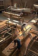 Internaional Yacht Restoration School - restoration work in progress on a series of Beetle cats. Newport, RI.