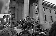 Sinn Fein (Provo) Dublin Parade.   K22..1976..25.04.1976..04.25.1976..25th April 1976..Sinn Fein held an Easter Rising Commemorative  parade..The parade started at St Stephens Green, Dublin and proceeded through the streets to the G.P.O.in O'Connell Street, the scene of the centre of the 1916 uprising..Photographers mass on the viewing stand jostling for the best position.