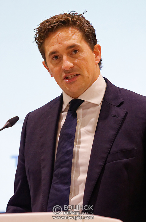 London, United Kingdom - 12 September 2019<br /> Johnny Mercer MP, Parliamentary Under-Secretary of State for Defence People and Veterans for the UK Government gives a keynote address speech and answers questions from the audience at DSEI 2019 security, defence and arms fair at ExCeL London exhibition centre.<br /> (photo by: EQUINOXFEATURES.COM)<br /> Picture Data:<br /> Photographer: Equinox Features<br /> Copyright: ©2019 Equinox Licensing Ltd. +443700 780000<br /> Contact: Equinox Features<br /> Date Taken: 20190912<br /> Time Taken: 10045024<br /> www.newspics.com