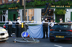 March 29, 2019 - London, London, United Kingdom - Clapham Common stabbing...The body still remains in place. ..A man in his 40s has been stabbed to dead in Clapham Park Road, near Clapham Common tube station, South London. Police and Ambulance Service where called at 2:30pm but despite efforts by the paramedics the victim died at the scene. (Credit Image: © Gustavo Valiente/i-Images via ZUMA Press)