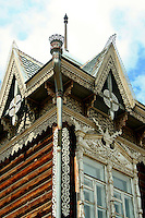 Siberia is known for its unique woodwork and architecture.  Even the most modest of buildings have elaborate woodwork decorating the windows.  Very often this woodwork is colorful  an attempt to cheer things up during the long, harsh winters that Siberia is known for.  Though this kind of architecture is to be seen in all parts of Siberia, the best examples are perhaps in Irkutsk - the Paris of Siberia.