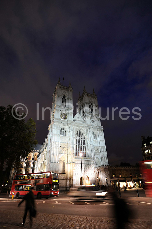A general view shows Westminster Abbey, in central London. Venue on Friday, April 29 next year for the royal wedding. The Collegiate Church of St Peter at Westminster, which is almost always referred to popularly and informally as Westminster Abbey, is a large, mainly Gothic church, in Westminster, located just to the west of the Palace of Westminster. It is the traditional place of coronation and burial site for British monarchs of the Commonwealth Realms. It briefly held the status of a cathedral from 1546–1556, and is a Royal Peculiar.