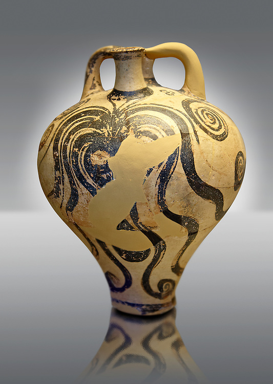 """Photo of a Three handles """"Palace Style"""" amphora with three large octopuses within a marines cape of rocks and seaweed. A mycenaean copy of a Minoan Marine Style.   Mycenae tomb 2, Greece. 15th century BC,  cat no: 6725, National Archaeological Museum, Athens. .<br /> <br /> If you prefer to buy from our ALAMY PHOTO LIBRARY  Collection visit : https://www.alamy.com/portfolio/paul-williams-funkystock/mycenaean-art-artefacts.html . Type -   Athens    - into the LOWER SEARCH WITHIN GALLERY box. Refine search by adding background colour, place, museum etc<br /> <br /> Visit our MYCENAEN ART PHOTO COLLECTIONS for more photos to download  as wall art prints https://funkystock.photoshelter.com/gallery-collection/Pictures-Images-of-Ancient-Mycenaean-Art-Artefacts-Archaeology-Sites/C0000xRC5WLQcbhQ"""