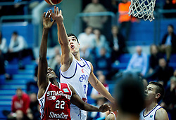 Frank Ntilikina of SIG Strassbourg vs Nik Slavica of Cibona during basketball match between KK Cibona Zagreb (CRO) and SIG Strasbourg in Round #6 of FIBA Champions League 2016/17, on November 23, 2016 in Drazen Petrovic Basketball center, Zagreb, Croatia. Photo by Vid Ponikvar / Sportida