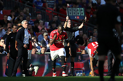 Manchester United substitute Romelu Lukaku enters the game