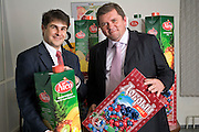 Moscow, Russia, 24/10/2005..Alexander Pismenny, Tetra Pak Sales Manager for Coca Cola [left] and Alexander Kritsky. CEO of Multon.