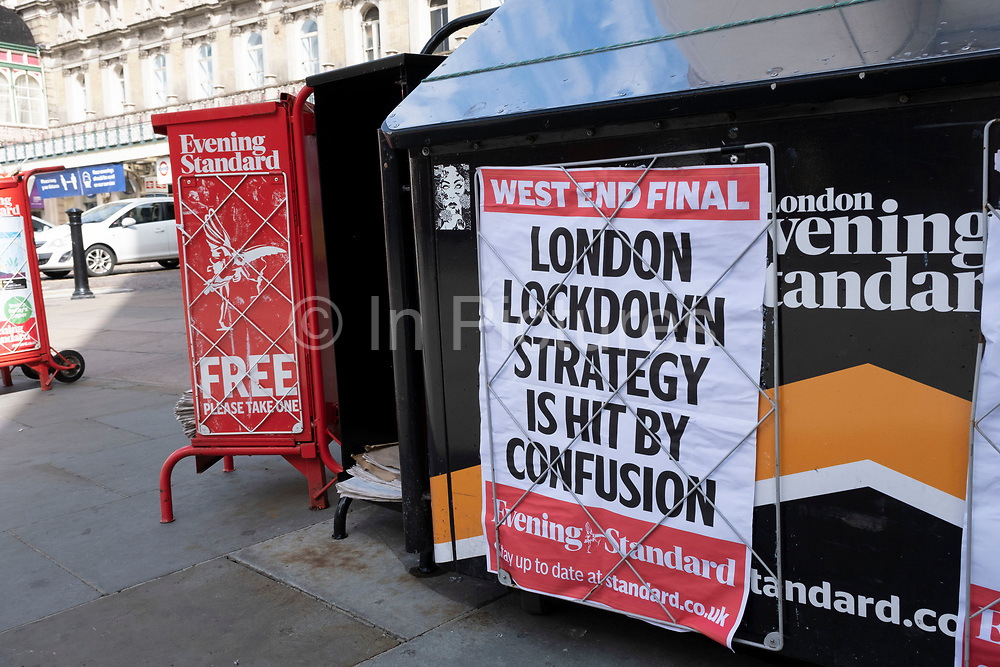 Evening Standard newspaper headline reads London Lockdown strategy is hit by confusion under coronavirus lockdown on 1st July 2020 in London, England, United Kingdom. As the July deadline approaces and government will relax its lockdown rules further, the central London remains very quiet, while some non-essential shops are allowed to open with individual shops setting up social distancing systems.