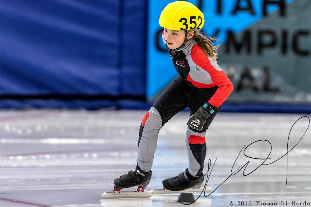 December 17, 2016 - Kearns, UT - Cristina Morelli skates during US Speedskating Short Track Junior Nationals and Winter Challenge Short Track Speed Skating competition at the Utah Olympic Oval.