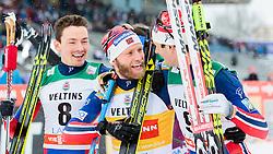 21.02.2016, Salpausselkae Stadion, Lahti, FIN, FIS Weltcup Langlauf, Lahti, Herren Skiathlon, im Bild v.l.: Finn Haagen Krogh (NOR, 2. Platz), Sieger Martin Johnsrud Sundby (NOR), Hans Christer Holund (NOR, 2. Platz) // f.l.: 2nd placed Finn Haagen Krogh of Norway, Winner Martin Johnsrud Sundby of Norway, 3rd placed Hans Christer Holund of Norway celebrates during Mens Skiathlon FIS Cross Country World Cup, Lahti Ski Games at the Salpausselkae Stadium in Lahti, Finland on 2016/02/21. EXPA Pictures © 2016, PhotoCredit: EXPA/ JFK