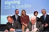 Koningin Maxima bijondertekening EIB-lening Qredits
