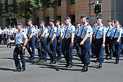 Air force personnel marching in 2014 ANZAC day parade, Brisbane <br /> <br /> Editions:- Open Edition Print / Stock Image