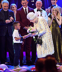 Members of The Royal Family attend The Queen's Birthday Party at the Royal Albert Hall, London, UK, on the 21st April 2018. Picture by Andrew Parsons/WPA-Pool. 21 Apr 2018 Pictured: Queen, Queen Elizabeth. Photo credit: MEGA TheMegaAgency.com +1 888 505 6342