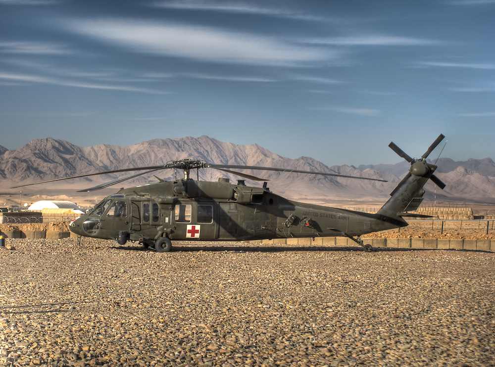 """UH-60A Medevac from """"Arctic Dustoff"""" C 1/52 Aviation in Tarin Kowt Afghanistan, January 2012"""