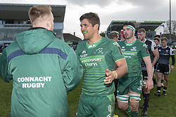 March 2, 2019 - Galway, Ireland - Jarrad Butler of Connacht celebrates during the Guinness PRO 14 match  between Connacht Rugby and Ospreys at the Sportsground in Galway, Ireland on March 2, 2019  (Credit Image: © Andrew Surma/NurPhoto via ZUMA Press)