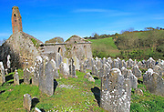 Seventeenth century Kilcredan church ruins and graveyard, County Cork, Ireland