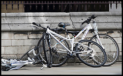 August 14, 2018 - London, London, United Kingdom - Image licensed to i-Images Picture Agency. 14/08/2018. London, United Kingdom.  Forensic officers examine the car after the driver crashed it through cyclists and into a barrier outside the Houses of Parliament in London in what was thought to be a terror attack. (Credit Image: © Stephen Lock/i-Images via ZUMA Press)