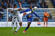 Peterborough United defender Colin Daniel  (3) and Gillingham FC forward Brandon Hanlan (7) during the EFL Sky Bet League 1 match between Gillingham and Peterborough United at the MEMS Priestfield Stadium, Gillingham, England on 22 September 2018. Picture by Martin Cole