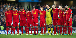 11.11.2012, Stamford Bridge, London, ENG, Premier League, FC Chelsea vs FC Liverpool, 11. Runde, im Bild Liverpool players stand for a minute's silence before the Premiership match against Chelsea at Stamford Bridge during the English Premier League 11th round match between Chelsea FC and Liverpool FC at the Stamford Bridge, London, Great Britain on 2012/11/11. EXPA Pictures © 2012, PhotoCredit: EXPA/ Propagandaphoto/ David Rawcliffe..***** ATTENTION - OUT OF ENG, GBR, UK *****