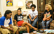 Members of Dream Defenders talk during an informal meet-and-greet session for newcomers July 23, 2013 in Florida Gov. Rick Scott's office at the state capitol in Tallahassee. (Photo by Carmen K. Sisson/Cloudybright)
