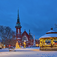Holiday Lights at the Natick Center Historic District and Natick Common Town Center with First Congressional Church painted in beautiful blue hour light at night. Natick is part of the Metro West region of Massachusetts and is only 10 miles west of Boston.<br />