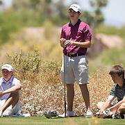 American Junior Golf Association players Oliver Schniederjans.(no hat), Patrick Cantlay and Jordan Spieth (light blue shirt), far left, at the Thunderbird International Junior tournament.