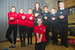 Pictured: Aileen Campbell with students from Mauricewood Primary School and Beeslack High School.<br /> <br /> Minister for Public Health Aileen Campbell joined P7 and S1 students at Beeslack High School in Penicuik for CPR training session attended by representatives from NHS, Police, fire and ambulance services.<br /> <br /> <br /> Ger Harley | EEm 24 November 2016