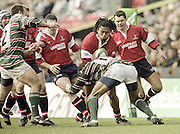 Watford. Great Britain. <br /> Terry FANOLUA, running on the wing with the ball during the Heineken Cup Semi Final; Gloucester Rugby vs Leicester Tigers. Vicarage Road Stadium, Hertfordshire.England.  <br /> <br /> [Mandatory Credit, Peter Spurrier/ Intersport Images].