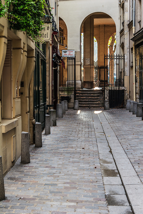 Rue de l'Hirondelle in Paris, France. This passage dates  from 14th century.