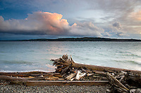 Clearing November storm, looking out over Saratoga Strait at sunset. Camano Island State Park Washington USA