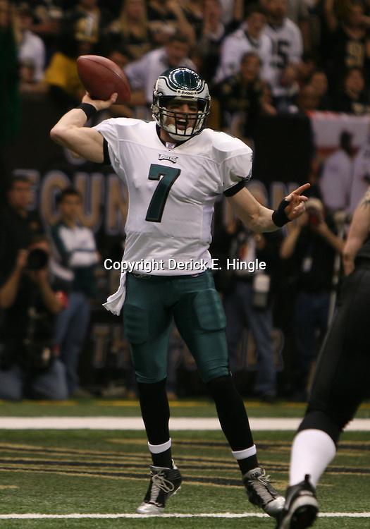 13 January 2007: Philadelphia Eagles quarterback Jeff Garcia passes the ball during a 27-24 win by the New Orleans Saints over the Philadelphia Eagles in the NFC Divisional round playoff game at the Louisiana Superdome in New Orleans, LA. The win advanced the New Orleans Saints to the NFC Championship game for the first time in the franchise's history.