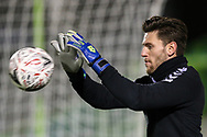Forest Green Rovers goalkeeper James Montgomery warming up during the The FA Cup 1st round replay match between Forest Green Rovers and Oxford United at the New Lawn, Forest Green, United Kingdom on 20 November 2018.