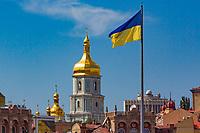 ukrainian flag and of Kiev cityscape skyline  Landmark Ukraine Europe