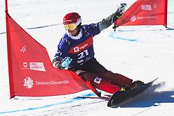 Zan Kosir (SLO) during parallel slalom FIS Snowboard Alpine World Championships 2021 on March 2nd 2021 on Rogla, Slovenia. Photo by Grega Valancic / Sportida