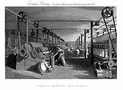 Carding, drawing and roving cotton. Carding engine (left) delivers cotton in a single sliver. Factory operated by shafts & belting. Could be powered by water or steam. Engraving c1830.
