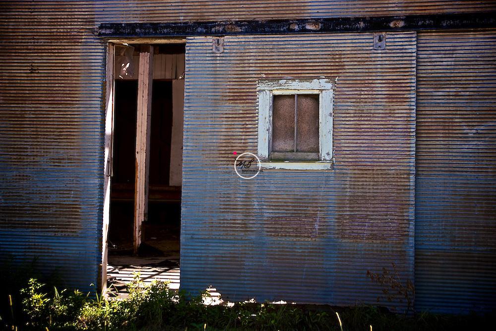rusted door window